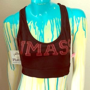 NWT PINK Collegiate Collection UMass Sports Bra